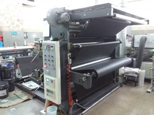 Flexo printing machine with a max printing width of 1600 mm.