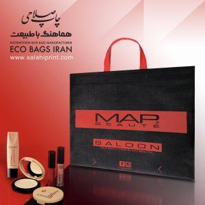 چاپ و تولید ساک دستی تبلیغاتی MAP SALOON در چاپخانه صلاحی